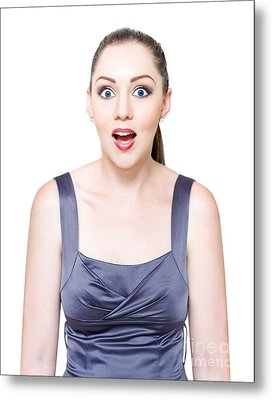 Excited Surprised And Awestruck Business Woman Metal Print by Jorgo Photography - Wall Art Gallery