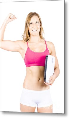 Excited Weight Loss Woman Over White Background Metal Print by Jorgo Photography - Wall Art Gallery