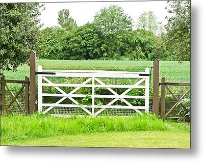 Farm Gate Metal Print by Tom Gowanlock