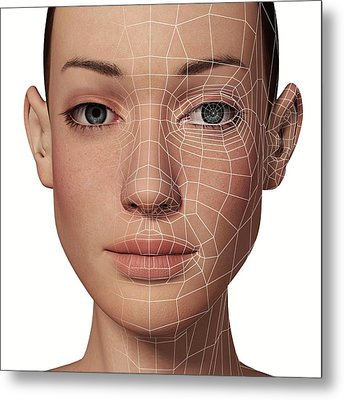 Female Head With Biometric Facial Map Metal Print by Alfred Pasieka