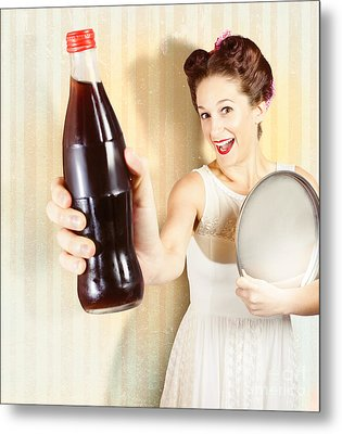 Female Pin-up Waiter Serving Drink At Summer Party Metal Print by Jorgo Photography - Wall Art Gallery