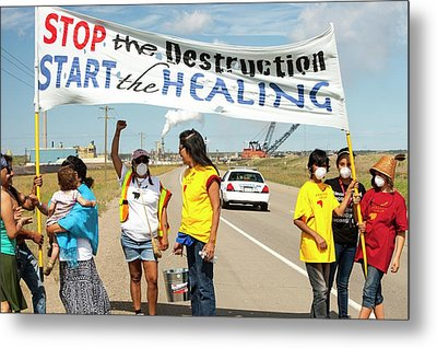 First Nation Protest The Tar Sands Metal Print by Ashley Cooper