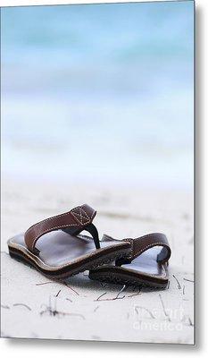 Flip-flops On Beach Metal Print by Elena Elisseeva