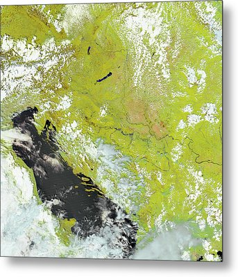Flooding In The Balkans Metal Print by Nasa Earth Observatory