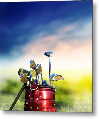 Football Soccer Ball On Green Grass Metal Print by Michal Bednarek