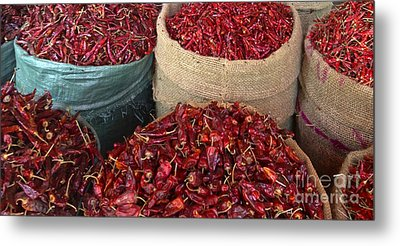 Fresh Dried Chilli On Display For Sale Zay Cho Street Market 27th Street Mandalay Burma Metal Print by Ralph A  Ledergerber-Photography