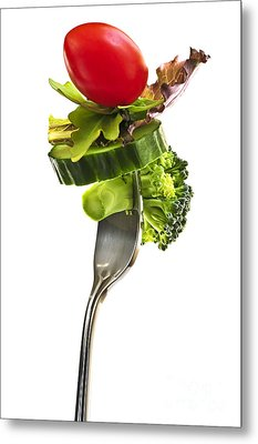 Fresh Vegetables On A Fork Metal Print by Elena Elisseeva