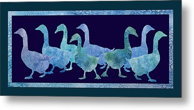 Geese Batik Metal Print by Jenny Armitage