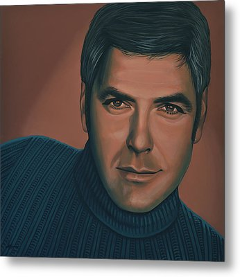 George Clooney Painting Metal Print by Paul Meijering