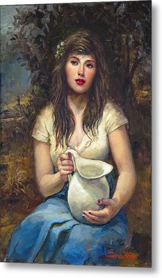 Girl With Pitcher Metal Print by Ron Escudero