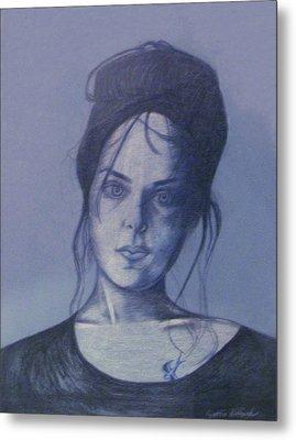 Girl With Tattoo Metal Print by Cynthia Hilliard