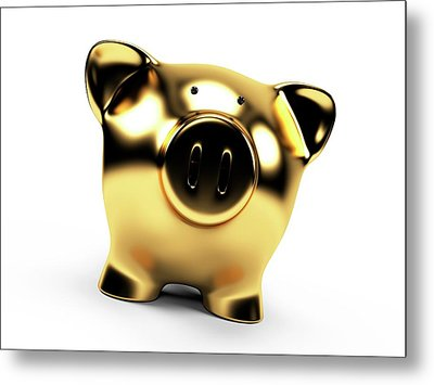 Gold Piggy Bank Metal Print by Sebastian Kaulitzki