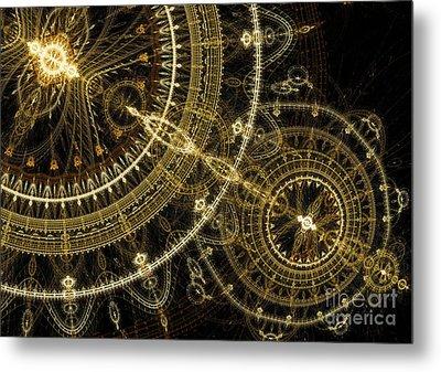 Golden Abstract Circle Fractal Metal Print by Martin Capek