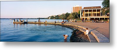 Group Of People At A Waterfront, Lake Metal Print by Panoramic Images