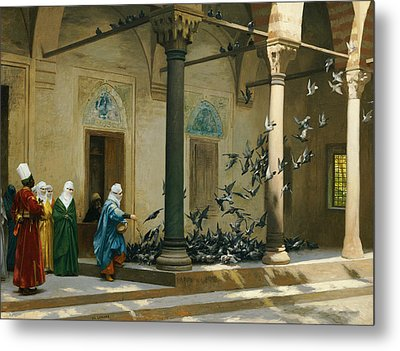 Harem Women Feeding Pigeons In A Courtyard Metal Print by Jean Leon Gerome