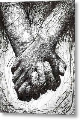 Holding Hands Metal Print by Michael  Volpicelli