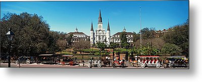 Horsedrawn Carriages On The Road Metal Print by Panoramic Images