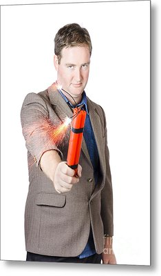 Hostile Male Office Worker Holding Flaming Bomb Metal Print by Jorgo Photography - Wall Art Gallery