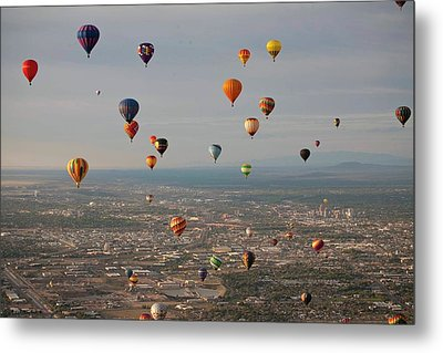Hot Air Balloon Mass Ascent Metal Print by Peter Menzel