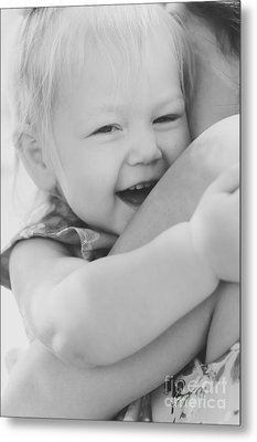 Hugging Mother And Daughter In Black And White Metal Print by Jorgo Photography - Wall Art Gallery