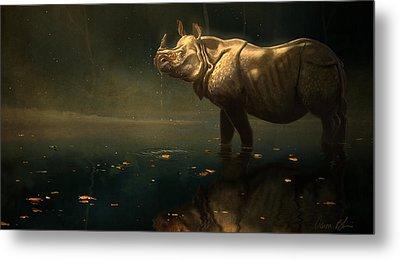 Indian Rhino Metal Print by Aaron Blaise