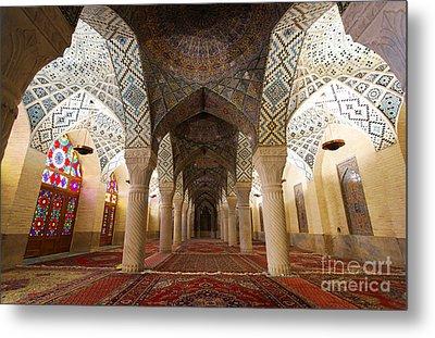 Interior Of The Winter Prayer Hall Of The Nazir Ul Mulk Mosque In Shiraz Iran Metal Print by Robert Preston