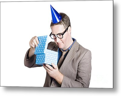 Isolated Businessman In Party Hat. Business Bonus Metal Print by Jorgo Photography - Wall Art Gallery
