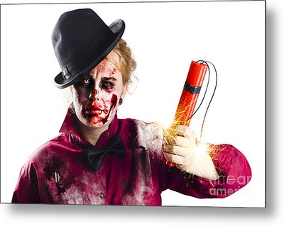Isolated Zombie Woman With Dynamite Metal Print by Jorgo Photography - Wall Art Gallery