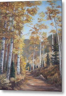 Cathedral Of The Aspens Metal Print by Frances Lewis