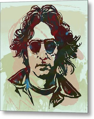John Lennon Pop Art Sketch Poster Metal Print by Kim Wang