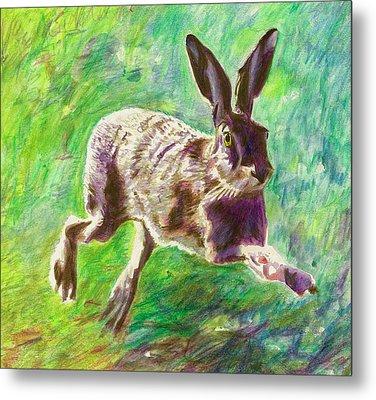 Joyful Hare Metal Print by Helen White