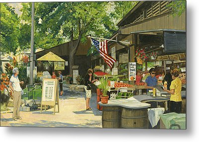Kirkwood Farmers Market American Flag Metal Print by Don  Langeneckert