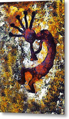 Kokopelli The Flute Player Metal Print by Barbara Snyder