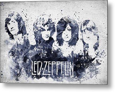 Led Zeppelin Portrait Metal Print by Aged Pixel