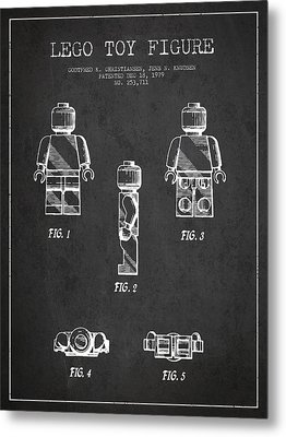 Lego Toy Figure Patent - Dark Metal Print by Aged Pixel