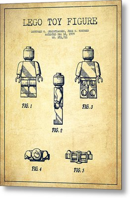 Lego Toy Figure Patent - Vintage Metal Print by Aged Pixel