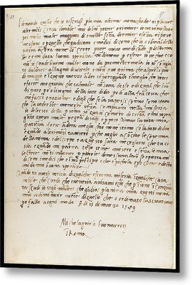 Letter Of Michelangelo Metal Print by British Library