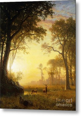 Light In The Forest Metal Print by Albert Bierstadt