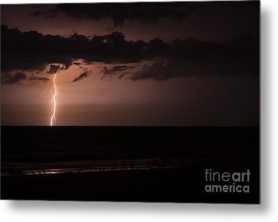 Lightning Over The Ocean Metal Print by Dawna  Moore Photography