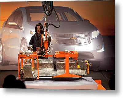 Lithium Ion Battery Pack For Electric Car Metal Print by Jim West