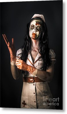 Living Dead Health Professional Putting On Gloves Metal Print by Jorgo Photography - Wall Art Gallery