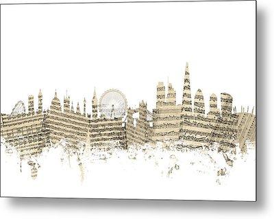 London England Skyline Sheet Music Cityscape Metal Print by Michael Tompsett