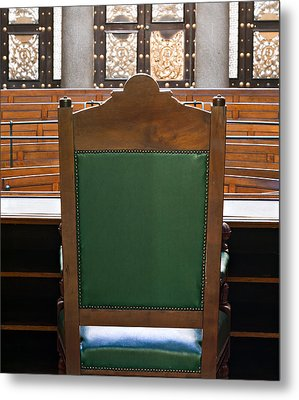 Looking Into Courtroom From Behind Judges Chair Metal Print by Ken Biggs