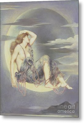 Luna Metal Print by Evelyn De Morgan