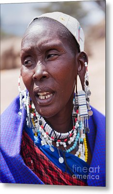 Maasai Woman Portrait In Tanzania Metal Print by Michal Bednarek