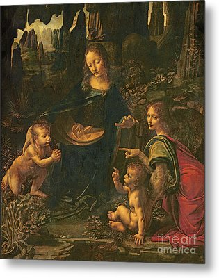 Madonna Of The Rocks Metal Print by Leonardo da Vinci