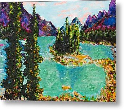 Maligne Lake Jasper Alberta Mountain Metal Print by Joyce Sherwin
