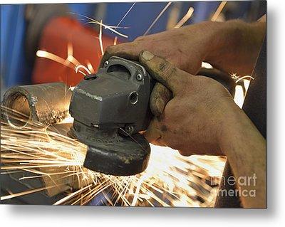 Man Cutting Steel With Grinder Metal Print by Sami Sarkis