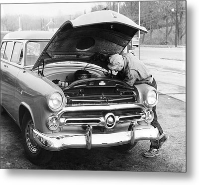 Man Working On His Car Metal Print by Underwood Archives