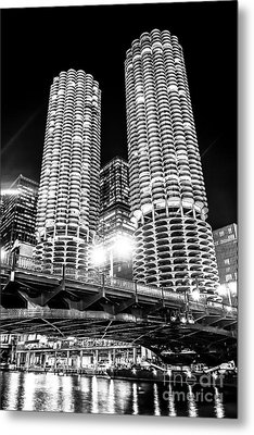 Marina City Towers At Night Black And White Picture Metal Print by Paul Velgos